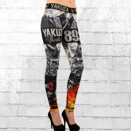 Yakuza Sport Leggings Flaming Flower schwarz weiss bunt
