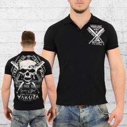 Yakuza Männer Streetwear Polo Shirt schwarz
