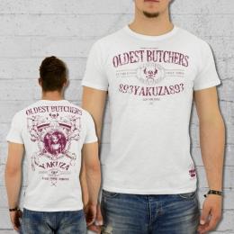 Yakuza T-Shirt Männer Oldest Butchers TSB 8015 weiss