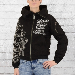 Yakuza Winterjacke Frauen Inked in Blood Bomber 9141 schwarz