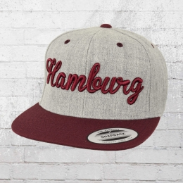 Yupoong by Flexfit Mütze City Cap Hamburg grau bordeaux