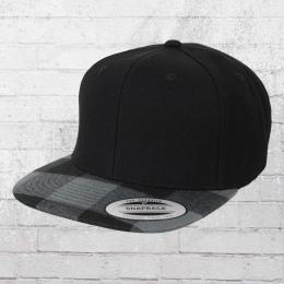 Yupoong Mütze Checked Flanell Peak Cap schwarz grau schwarz