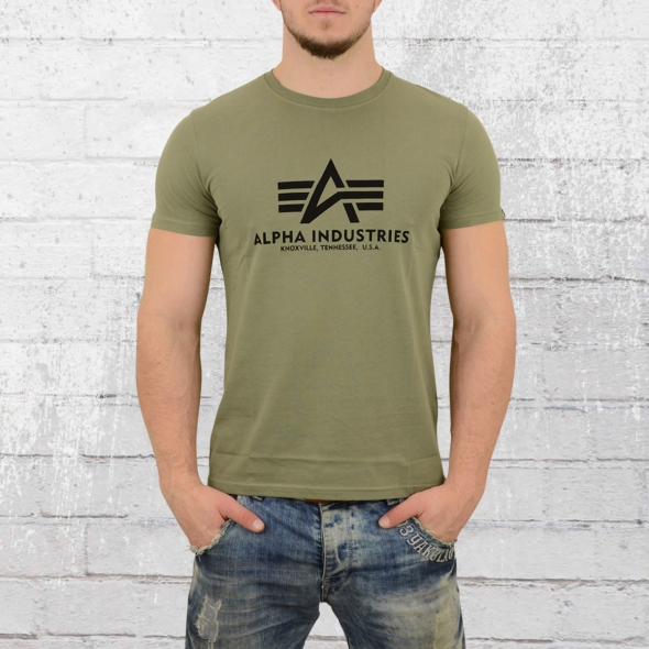 Alpha Industries T-Shirt Herren Basic oliv grün
