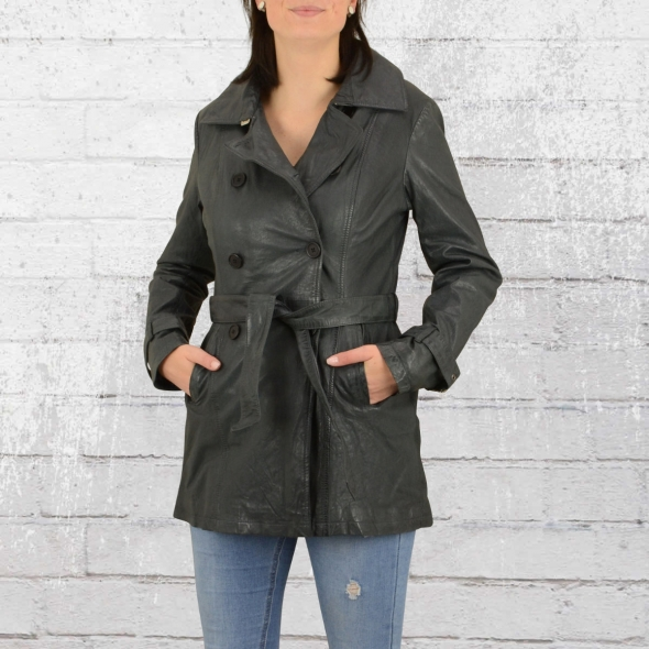 Blue Monkey Leder Jacke Damen Trenchcoat Mantel grau blau