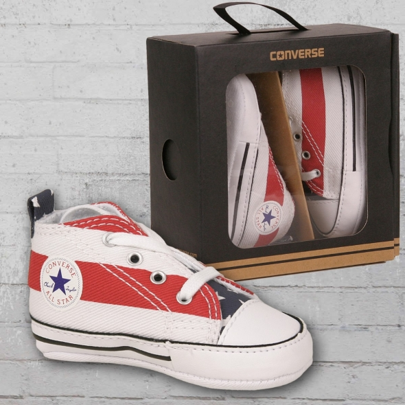 Converse Baby Schuhe First Star Stars and Bars weiss rot