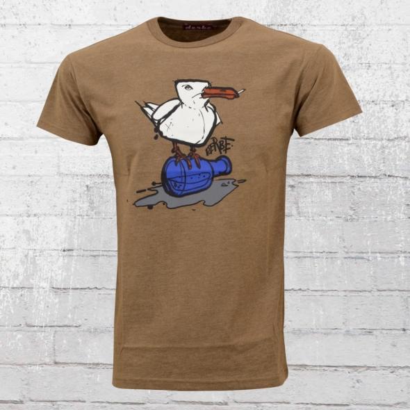 Derbe Hamburg Männer T-Shirt Möwe Soft braun melange