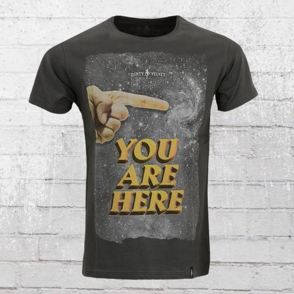 Dirty Velvet Herren T-Shirt You Are Here anthrazit