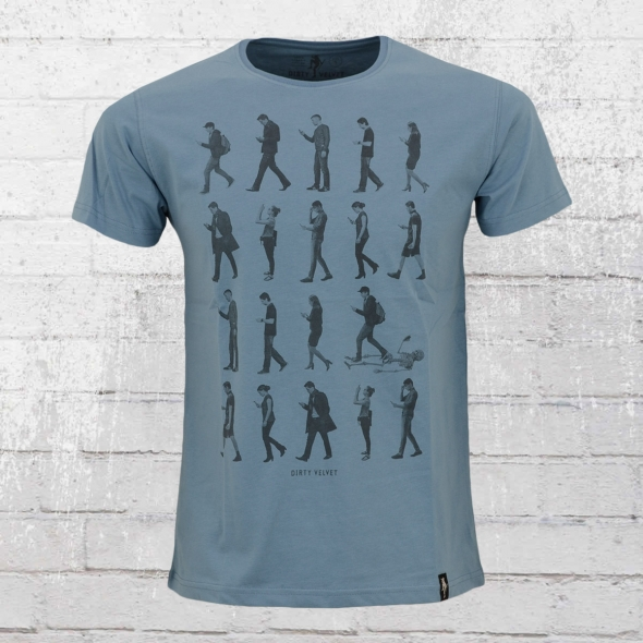 Dirty Velvet Männer T-Shirt Phone Zombies blau