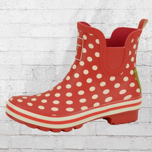 Evercreatures Kurze Gummistiefel Polka Dots Meadow rot weiss gepunktet