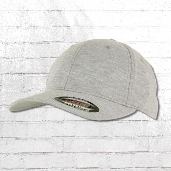 Flexfit Double Jersey Blanko Cap grau meliert Mütze Kappe Schirmmütze