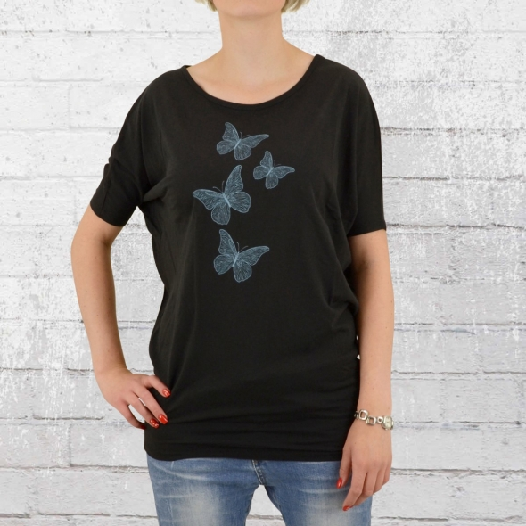Greenbomb Damen T-Shirt Animal Fine Butterflies schwarz