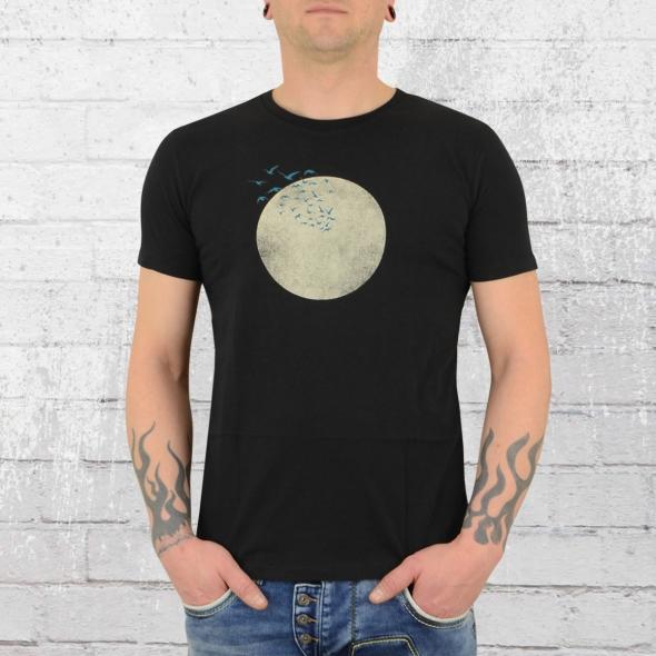Greenbomb Herren T-Shirt Nature Birds Moon schwarz