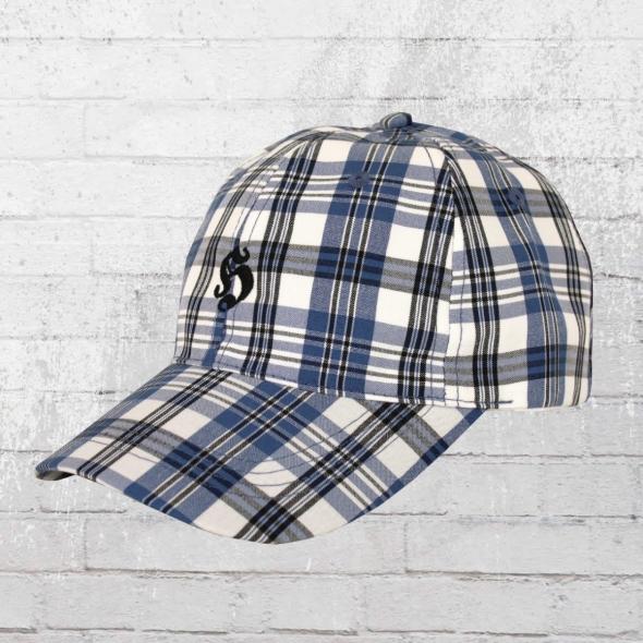 Hooligan Mütze Karo Cap Golf blau weiss kariert