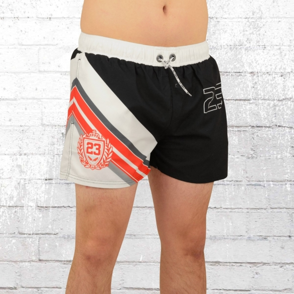 Label 23 Badehose Retro 23 Bade Short weiss schwarz