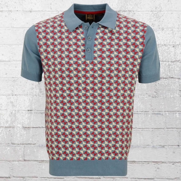 Merc London Männer Strick Polo Shirt Heston blau rot weiss