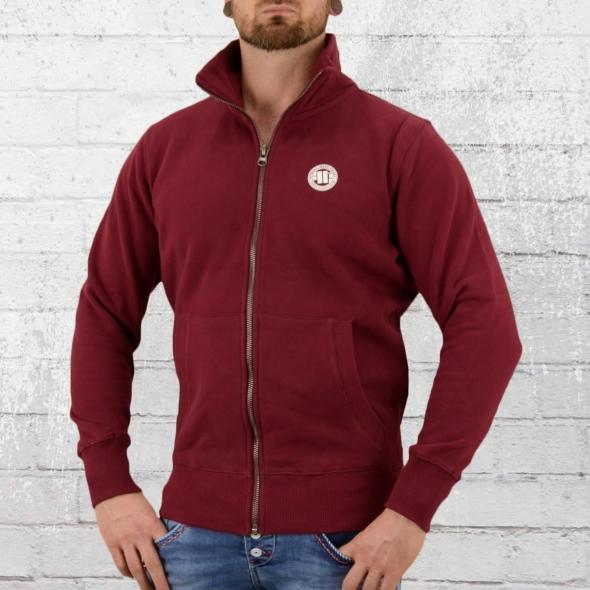 Pit Bull West Coast Männer Sweat-Jacke Kleines Logo weinrot