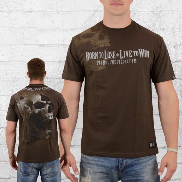 Pit Bull West Coast T-Shirt Herren Ace Of Spades 18 braun