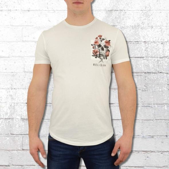 Religion Clothing T-Shirt Pocket Print Skull weiss
