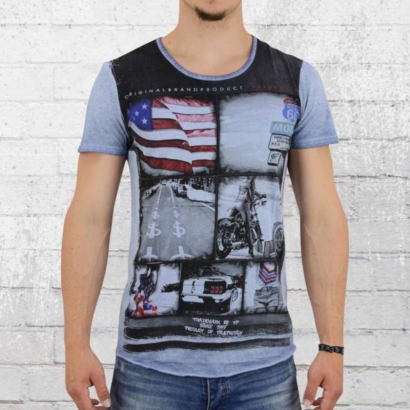 Trueprodigy Herren T-Shirt Roadtrip vintage blau