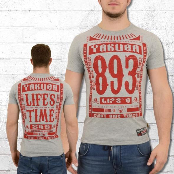 Yakuza Herren T-Shirt Life Time grau melange
