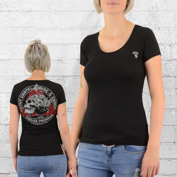 Yakuza Premium Damen T-Shirt Rose Skull schwarz