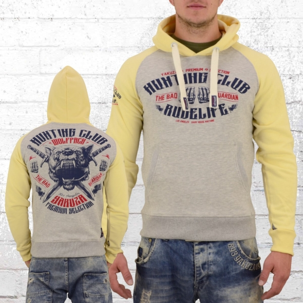 Yakuza Premium Herren Kapuzenpullover Hunting Club grau gelb