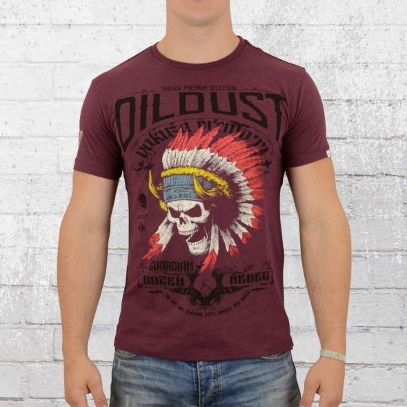 Yakuza Premium Indian Skull T-Shirt weinrot