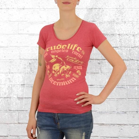Yakuza Premium T-Shirt Frauen Cherry Skulls rot melange