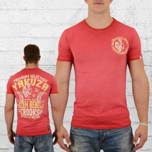Yakuza Premium Vintage Männer T-Shirt Crooks rot