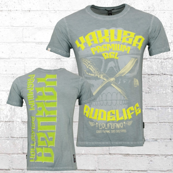 Yakuza Premium Vintage T-Shirt Rudelife blau gewaschen