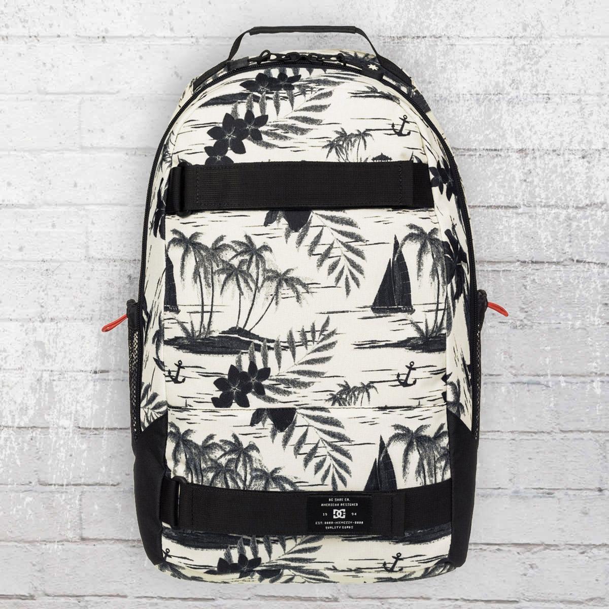 order now dc shoes grind backpack with board catcher creme white black. Black Bedroom Furniture Sets. Home Design Ideas