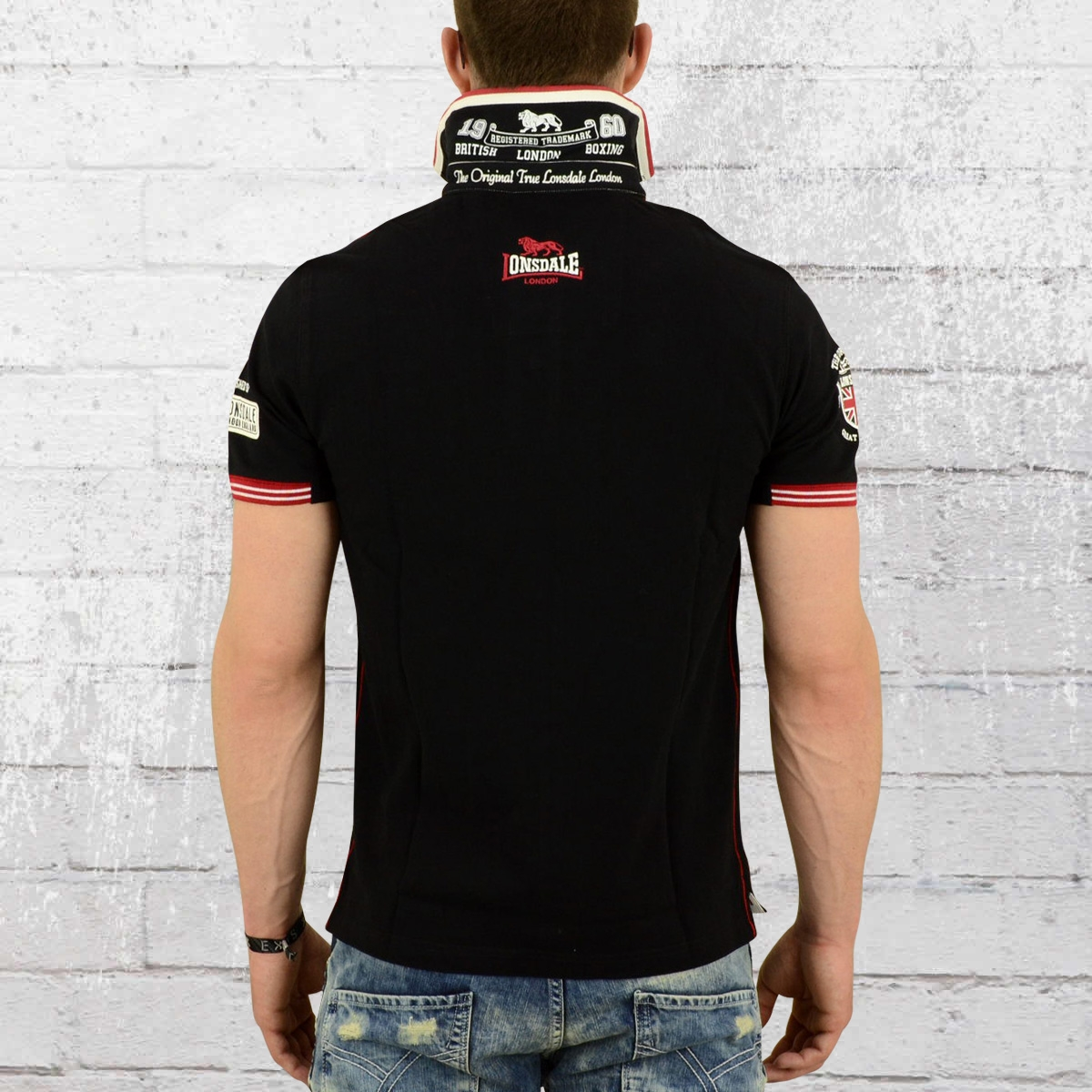 order now lonsdale london male poloshirt sellindge black. Black Bedroom Furniture Sets. Home Design Ideas