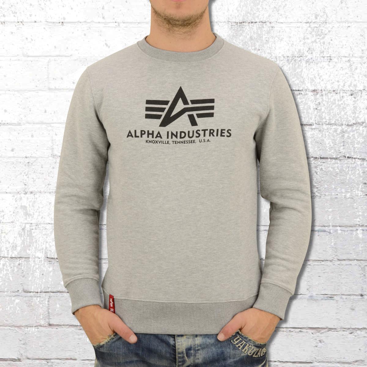 Alpha Industries Mens Basic Crew Neck Sweater light grey heather. ›‹ «