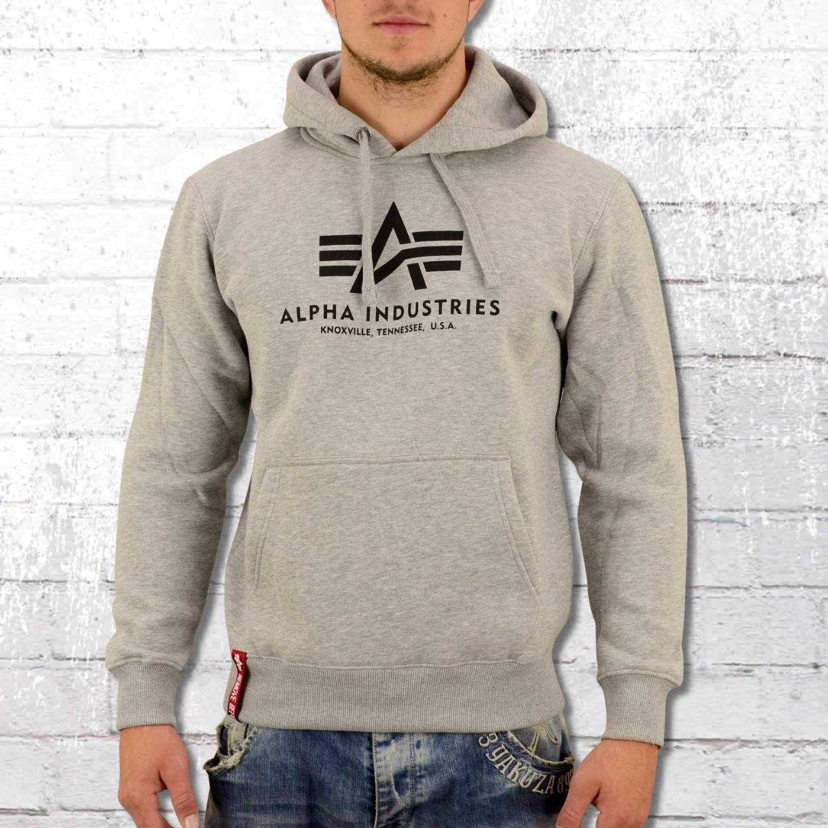 5bd6e72e12a93f Alpha Industries Hooded Sweatshirt Basic Hoody grey heather. ›‹ «