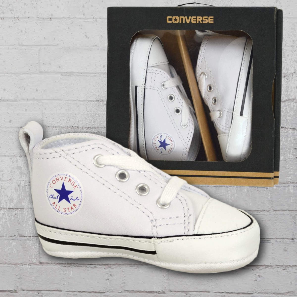 cb516e9517fc Converse Baby Shoes First Star Leather white. ›‹ «