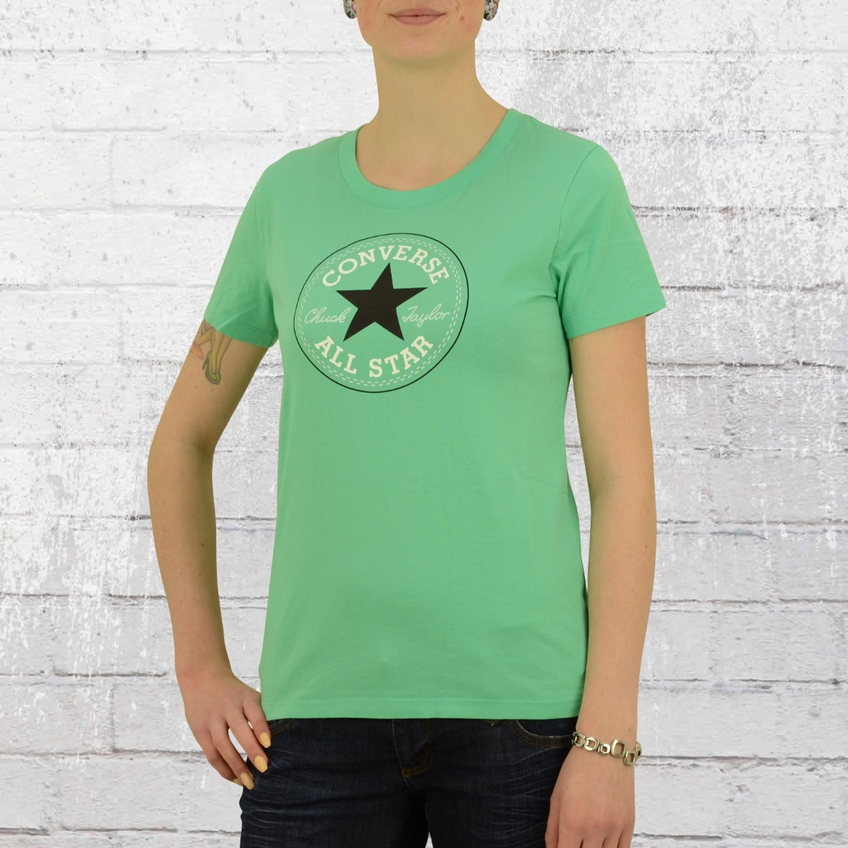 6e0c3b020085d4 Converse Ladies Boyfriend T-Shirt Core Solid Chuck Patch vergidis. ›‹