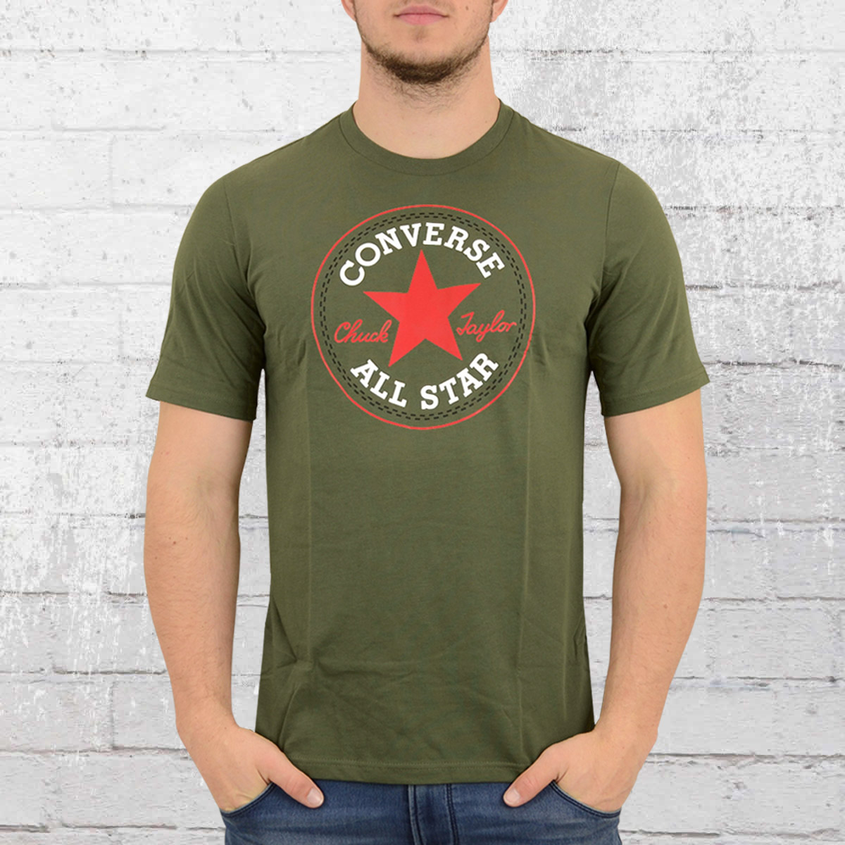 b940792a2a40 Converse Male T-Shirt Core Chuck Patch Tee olive green. ›‹ «
