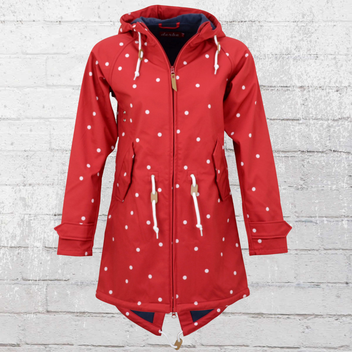 Derbe Womens Island Friese Softshell Coat Dots red white. ›‹ «