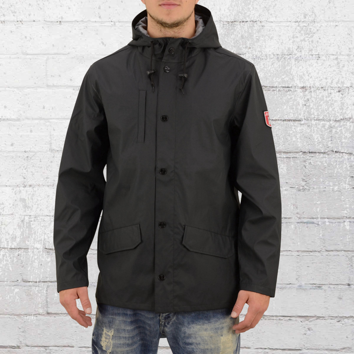 Derbe Hamburg Mens Rain Coat Passenger black grey. ›‹ «
