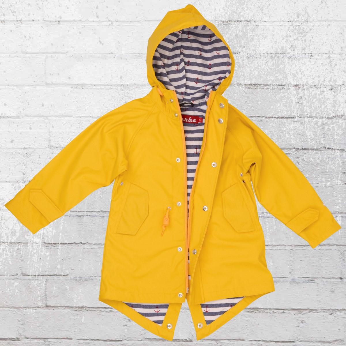 Derbe Kids Rain Jacket Travel Friese Striped yellow. ›‹