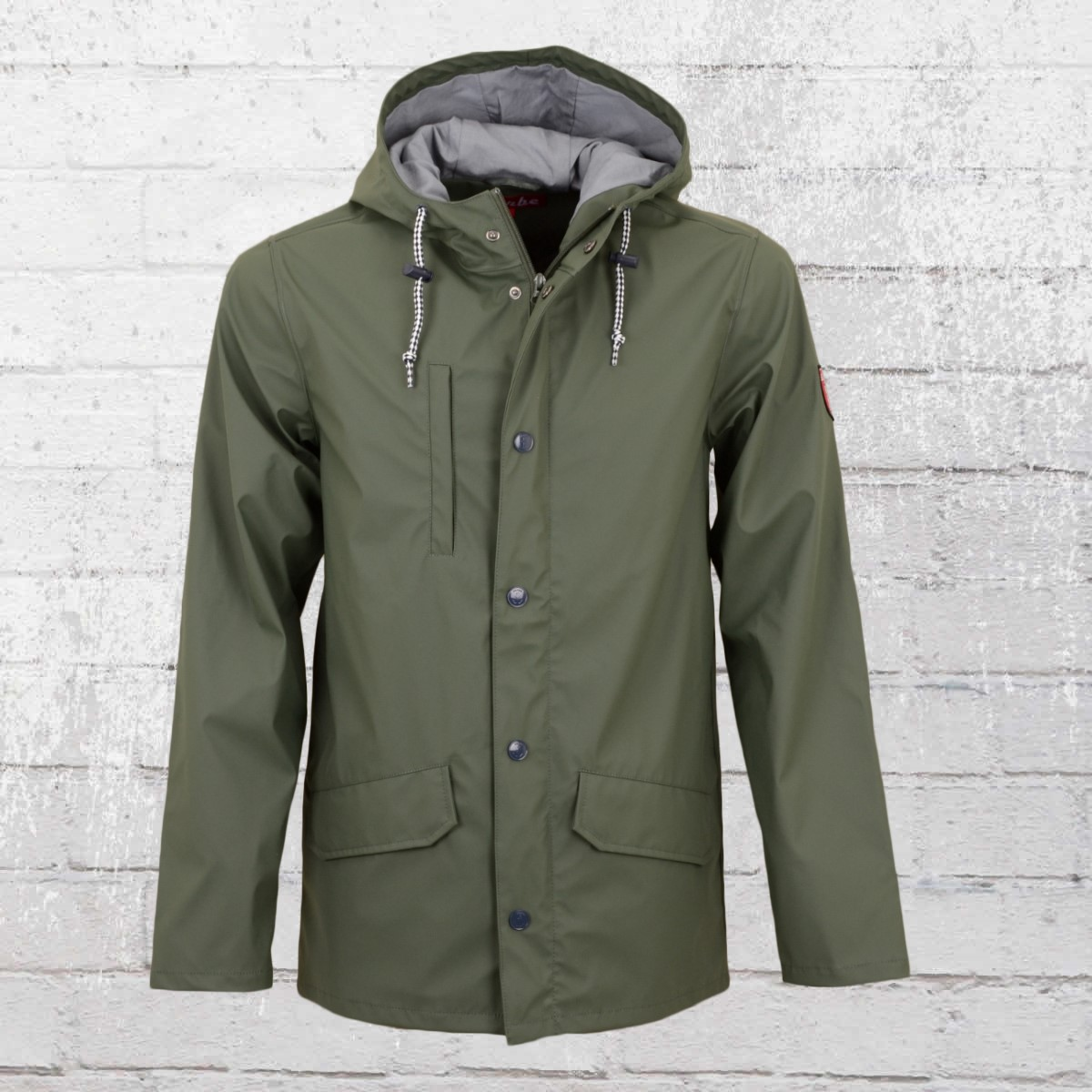Derbe Mens Rain Jacket Passenger Friese olive green grey. ›‹ «