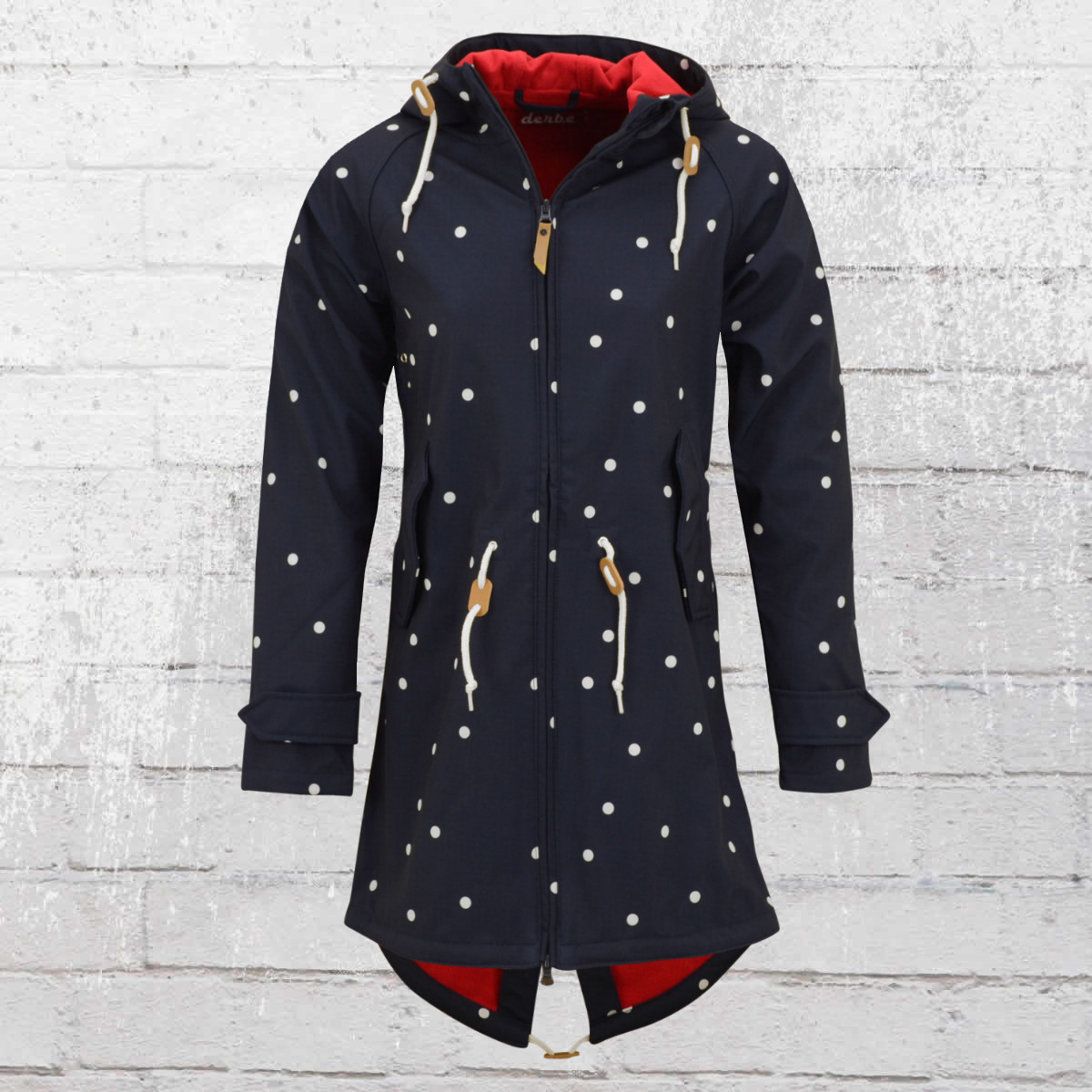 6dfdfa955e5589 Derbe Softshell Jacke Island Friese Dots blau weiss gepunktet. ›‹ «