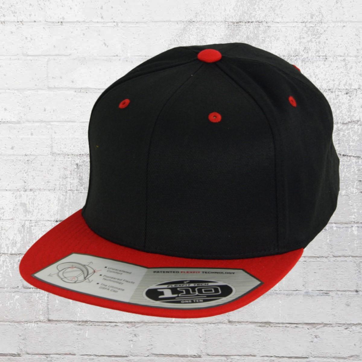 Flexfit 110 Fitted Snapback Cap black red. ›‹ « c6a8a28edd3a