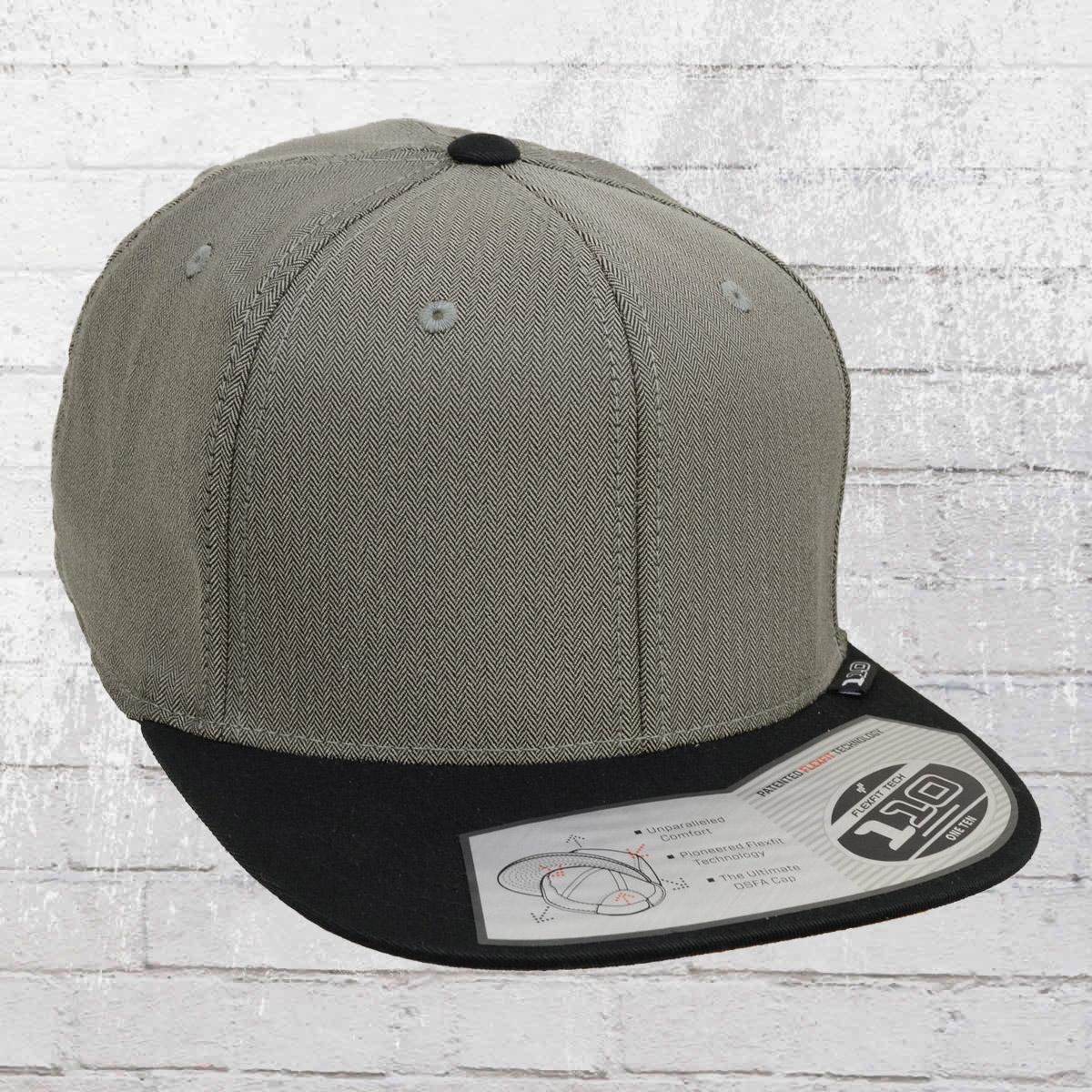 Jetzt bestellen | Flexfit Snapback Cap 110 Herringbone grau schwarz ...
