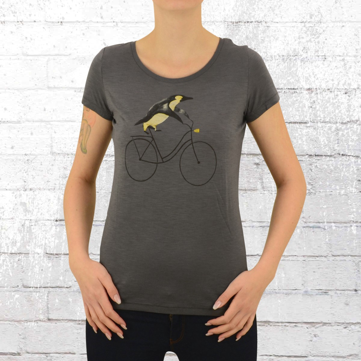 Jetzt bestellen   Greenbomb Damen Fahrrad T-Shirt Bike Pinguin grau ... da2c4a4955