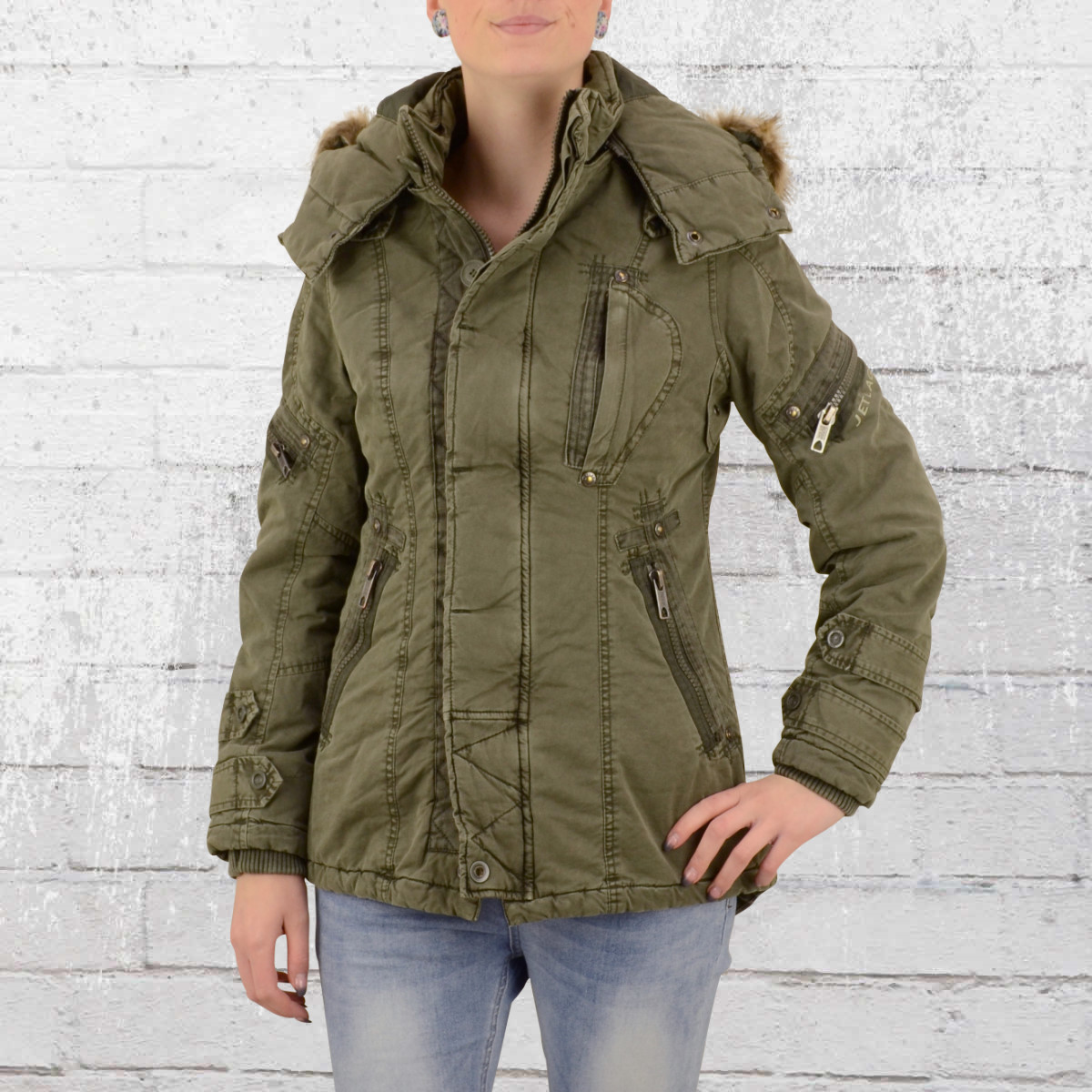 Jet Lag Womens Winter Jacket Ladies Parka army green. ›‹ «