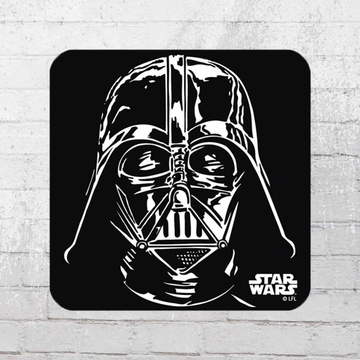 Order now logoshirt star wars darth vader coaster black for Darth vader black and white