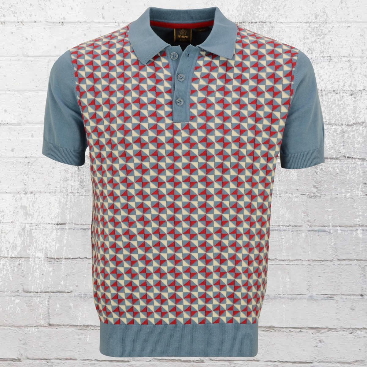 Order now merc london mens knit polo shirt heston blue for Knitted polo shirt mens