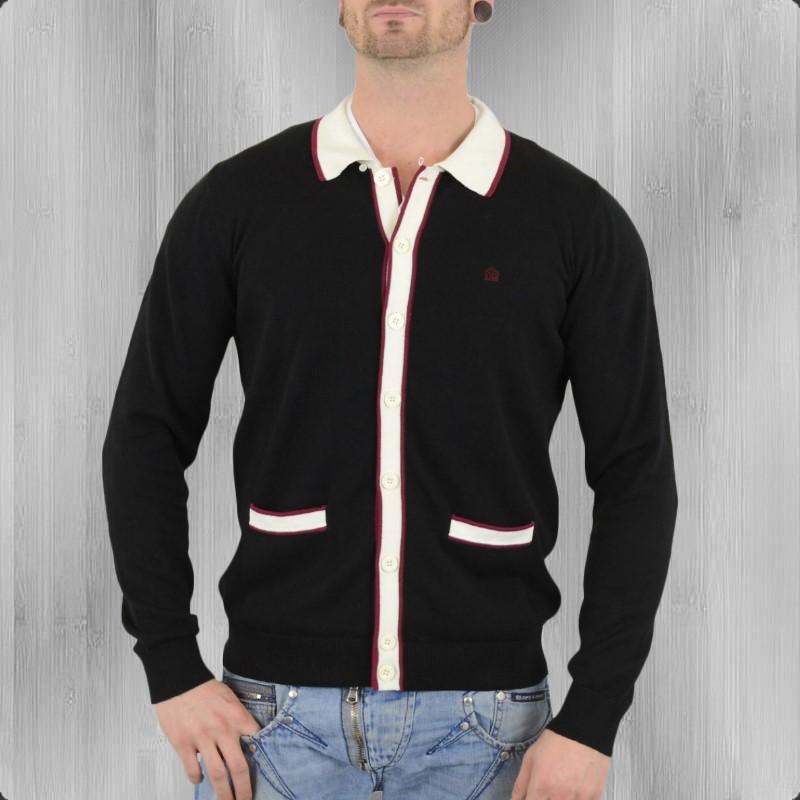jetzt bestellen merc london herren strickjacke newport cardigan schwarz krasse. Black Bedroom Furniture Sets. Home Design Ideas