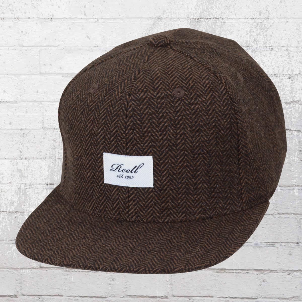 d1b28594 Order now | Reell Snapback Cap Tweed 6 Panel Hat herringbone brown
